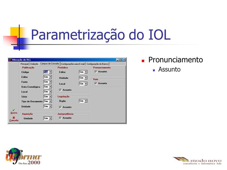 Pronunciamento Assunto Parametrização do IOL
