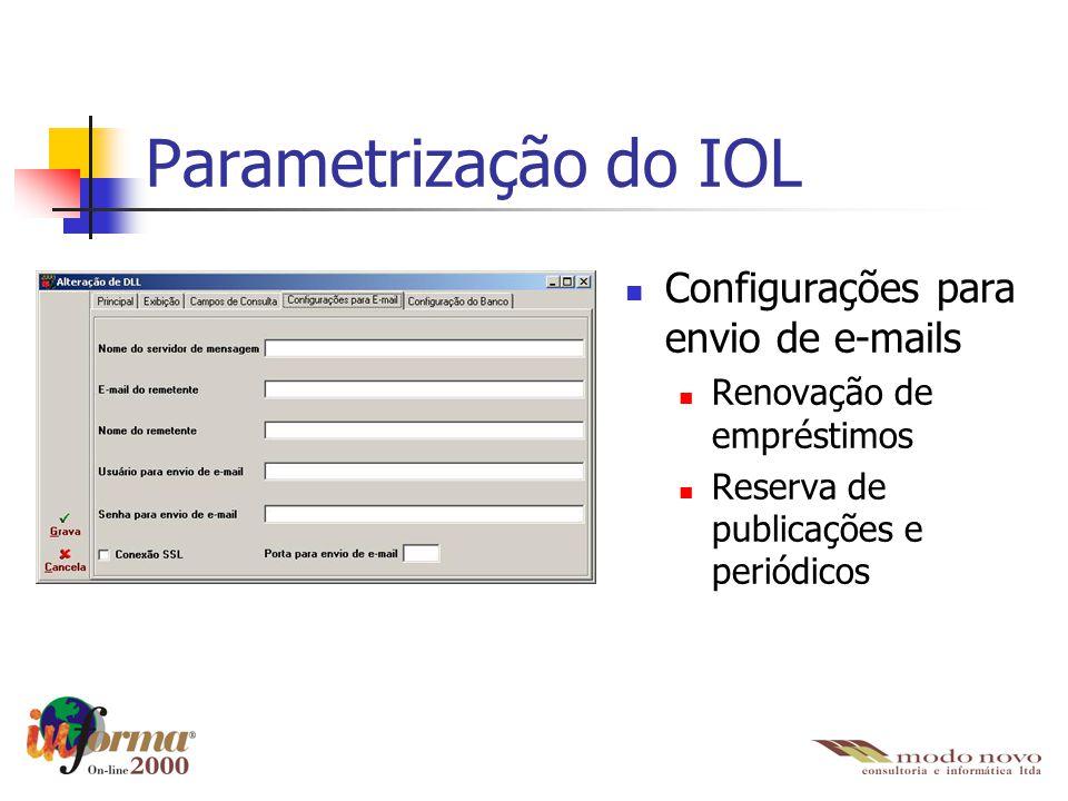 Configurações para envio de e-mails Renovação de empréstimos Reserva de publicações e periódicos