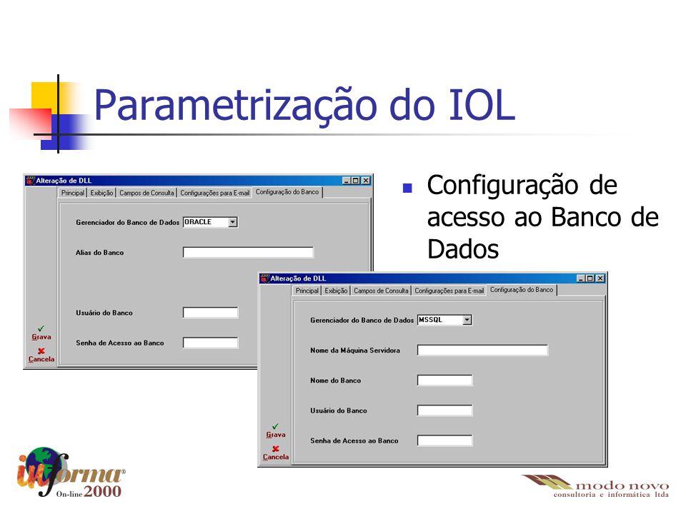 Parametrização do IOL Configuração de acesso ao Banco de Dados