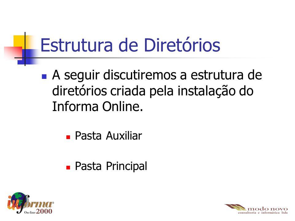 Estrutura de Diretórios A seguir discutiremos a estrutura de diretórios criada pela instalação do Informa Online. Pasta Auxiliar Pasta Principal