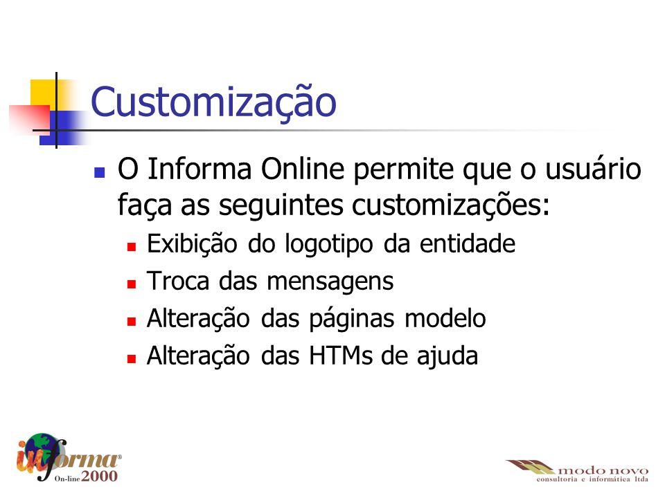 Customização O Informa Online permite que o usuário faça as seguintes customizações: Exibição do logotipo da entidade Troca das mensagens Alteração da