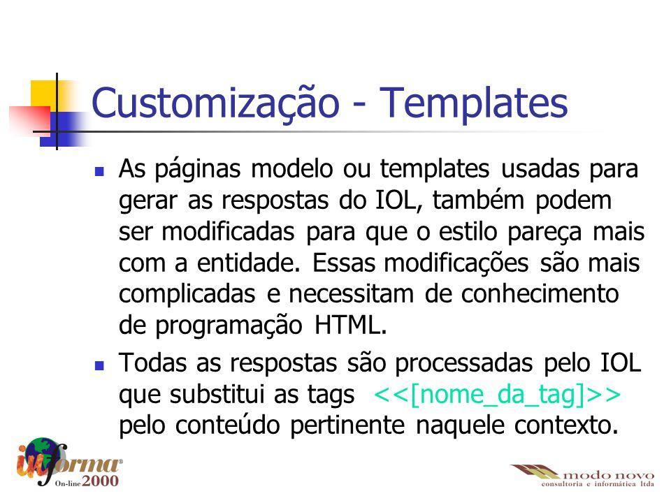 Customização - Templates As páginas modelo ou templates usadas para gerar as respostas do IOL, também podem ser modificadas para que o estilo pareça m