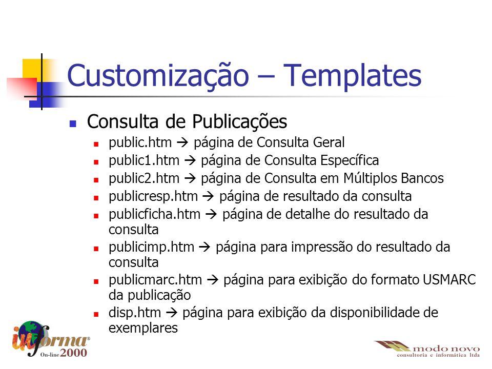 Customização – Templates Consulta de Publicações public.htm  página de Consulta Geral public1.htm  página de Consulta Específica public2.htm  págin