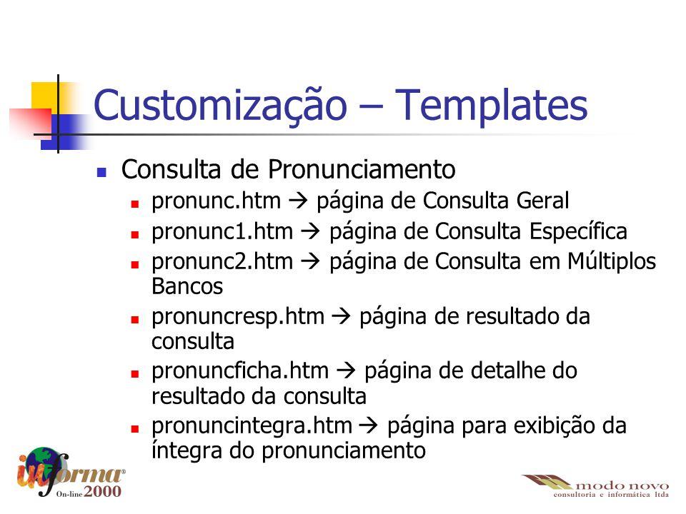 Customização – Templates Consulta de Pronunciamento pronunc.htm  página de Consulta Geral pronunc1.htm  página de Consulta Específica pronunc2.htm 