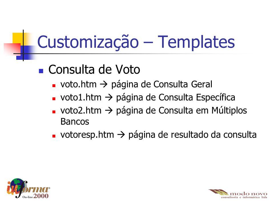 Customização – Templates Consulta de Voto voto.htm  página de Consulta Geral voto1.htm  página de Consulta Específica voto2.htm  página de Consulta