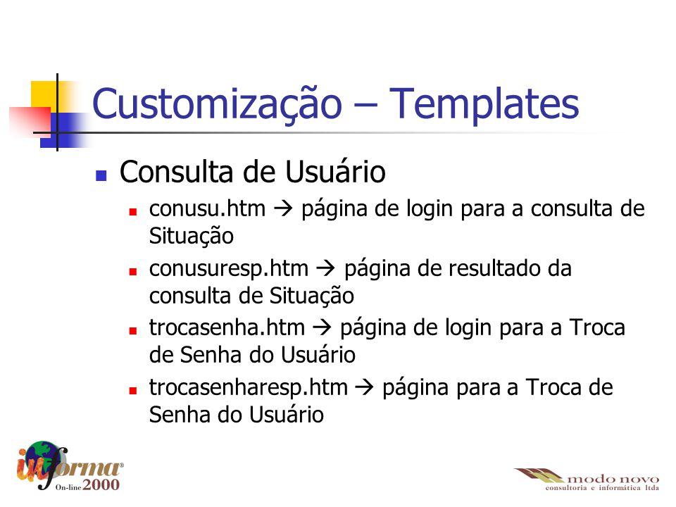 Customização – Templates Consulta de Usuário conusu.htm  página de login para a consulta de Situação conusuresp.htm  página de resultado da consulta