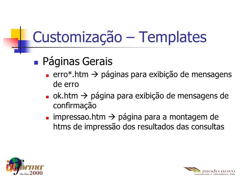 Customização – Templates Páginas Gerais erro*.htm  páginas para exibição de mensagens de erro ok.htm  página para exibição de mensagens de confirmaç