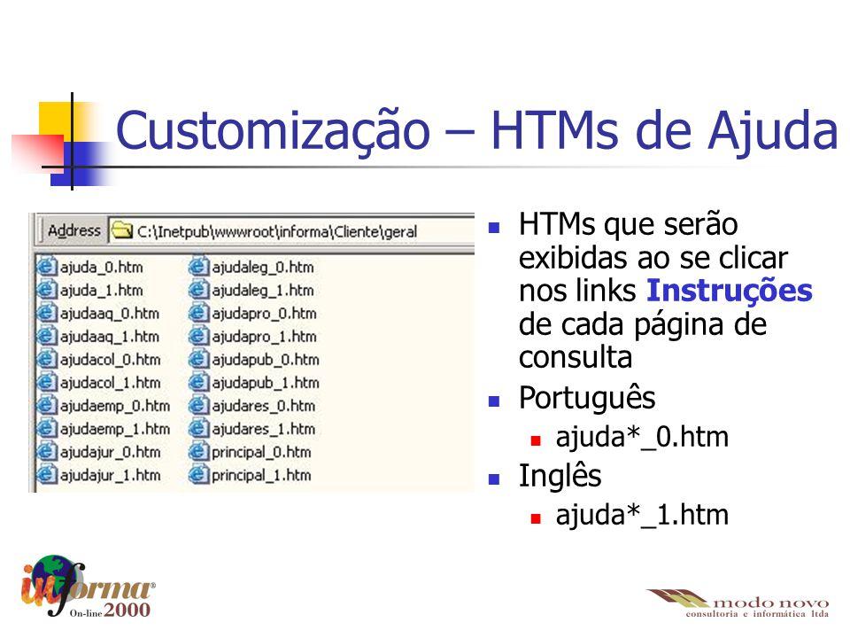 Customização – HTMs de Ajuda HTMs que serão exibidas ao se clicar nos links Instruções de cada página de consulta Português ajuda*_0.htm Inglês ajuda*