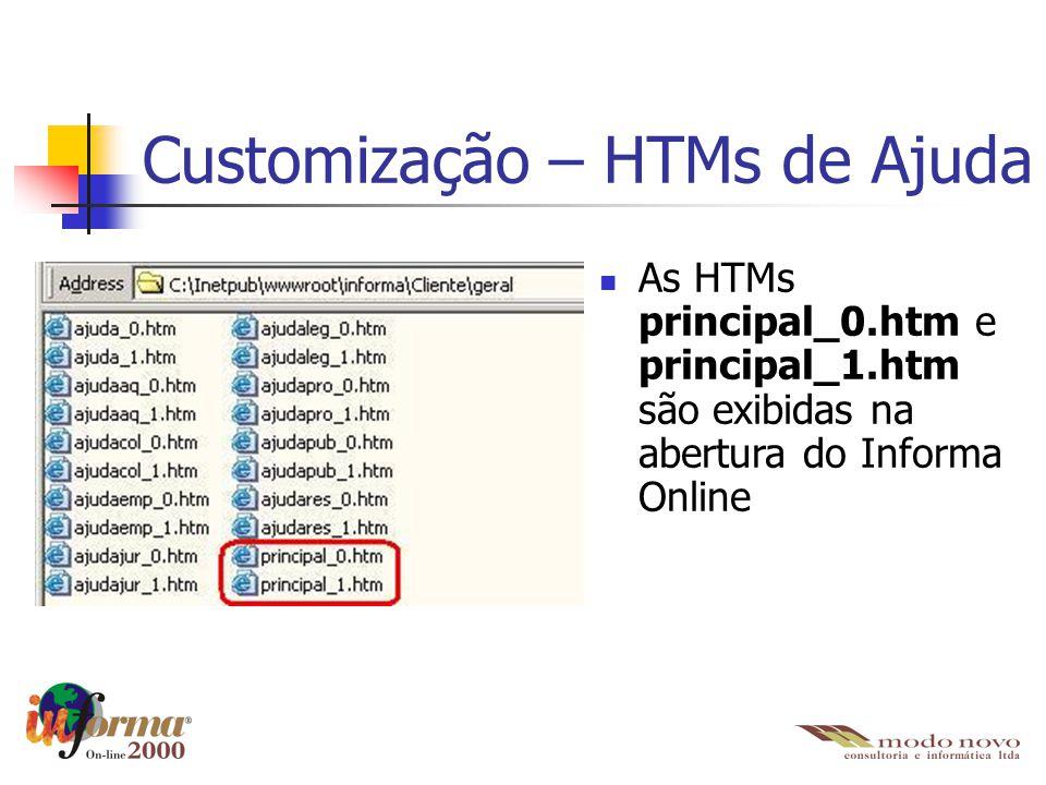 Customização – HTMs de Ajuda As HTMs principal_0.htm e principal_1.htm são exibidas na abertura do Informa Online
