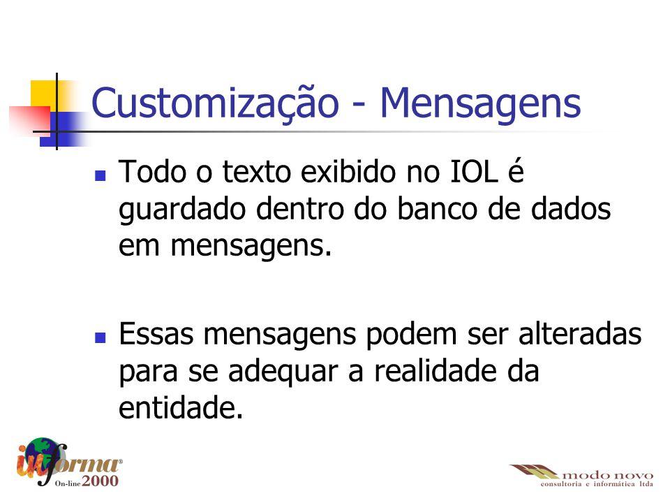 Customização - Mensagens Todo o texto exibido no IOL é guardado dentro do banco de dados em mensagens. Essas mensagens podem ser alteradas para se ade