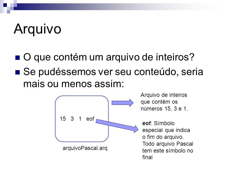 Arquivo O que contém um arquivo de inteiros? Se pudéssemos ver seu conteúdo, seria mais ou menos assim: 15 3 1 eof arquivoPascal.arq eof: Símbolo espe