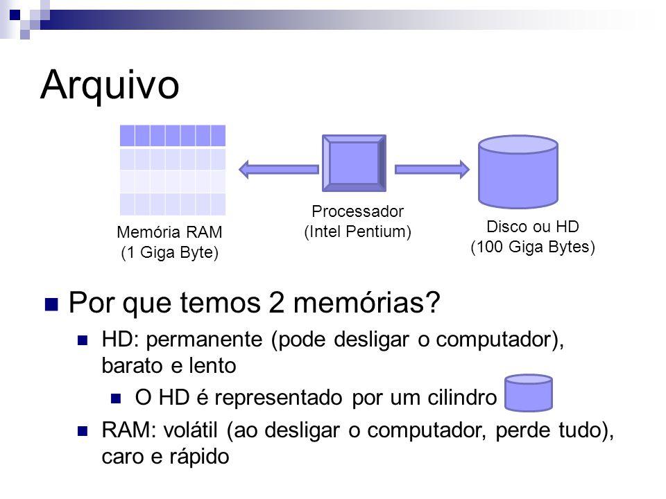 Memória RAM (1 Giga Byte) Disco ou HD (100 Giga Bytes) Processador (Intel Pentium) Por que temos 2 memórias? HD: permanente (pode desligar o computado