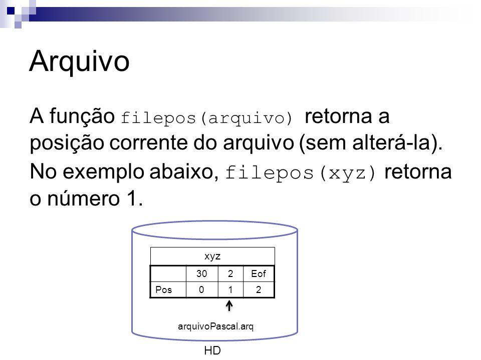 Arquivo A função filepos(arquivo) retorna a posição corrente do arquivo (sem alterá-la). No exemplo abaixo, filepos(xyz) retorna o número 1. HD xyz 30