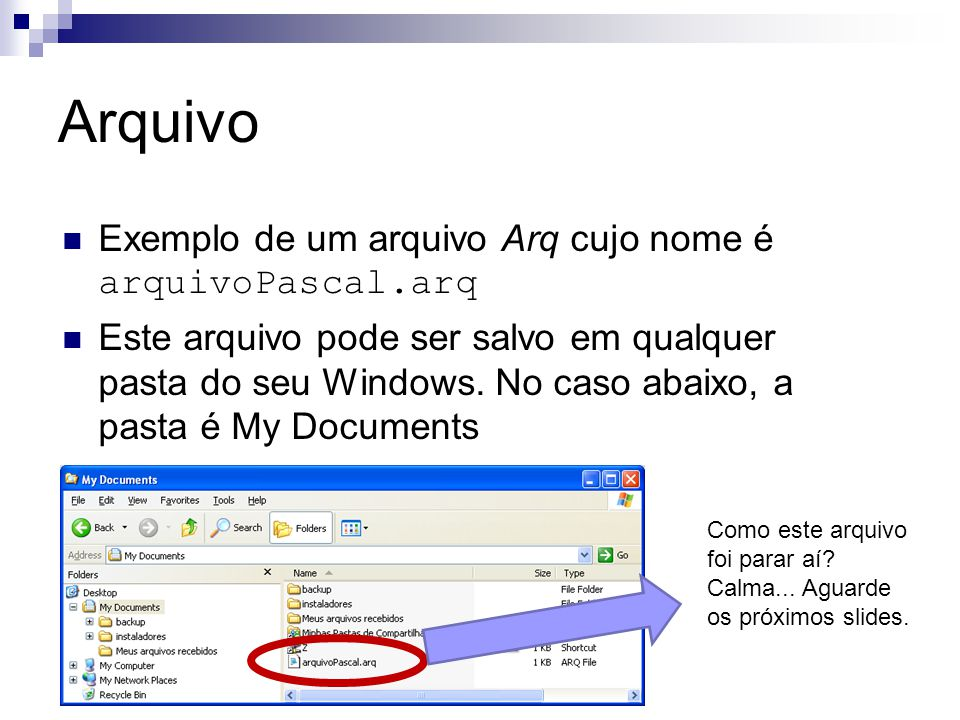 Arquivo {Cria um arquivo com registros} { Program arquivo4; type aluno = record mat: integer; cpf: integer; end; var arquivo: file of aluno; a: aluno; i: integer; begin Assign(arquivo, alunos.arq ); Rewrite(arquivo); i := 1; while (i <= 5) do begin write( Entre matricula e cpf: ); readln(a.mat,a.cpf); write(arquivo,a); end; close(arquivo); end.