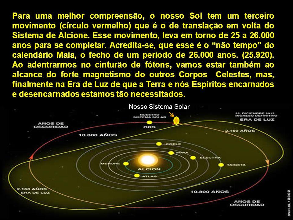 Nosso Sistema Solar Para uma melhor compreensão, o nosso Sol tem um terceiro movimento (círculo vermelho) que é o de translação em volta do Sistema de Alcione.
