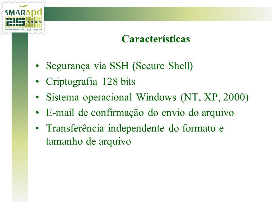 Segurança via SSH (Secure Shell) Criptografia 128 bits Sistema operacional Windows (NT, XP, 2000) E-mail de confirmação do envio do arquivo Transferên