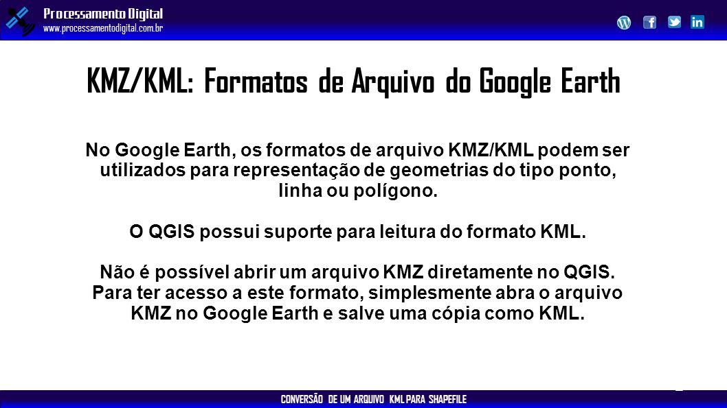CONVERSÃO DE UM ARQUIVO KML PARA SHAPEFILE Processamento Digital www.processamentodigital.com.br KMZ/KML: Formatos de Arquivo do Google Earth No Googl
