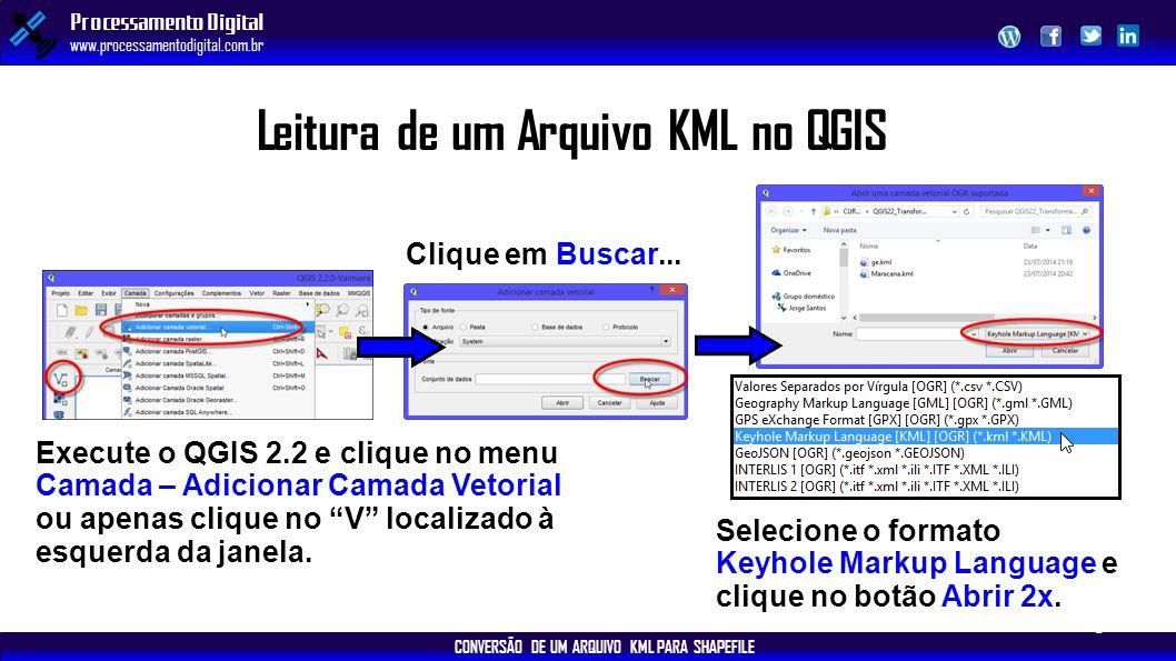 CONVERSÃO DE UM ARQUIVO KML PARA SHAPEFILE Processamento Digital www.processamentodigital.com.br Leitura de um Arquivo KML no QGIS Execute o QGIS 2.2