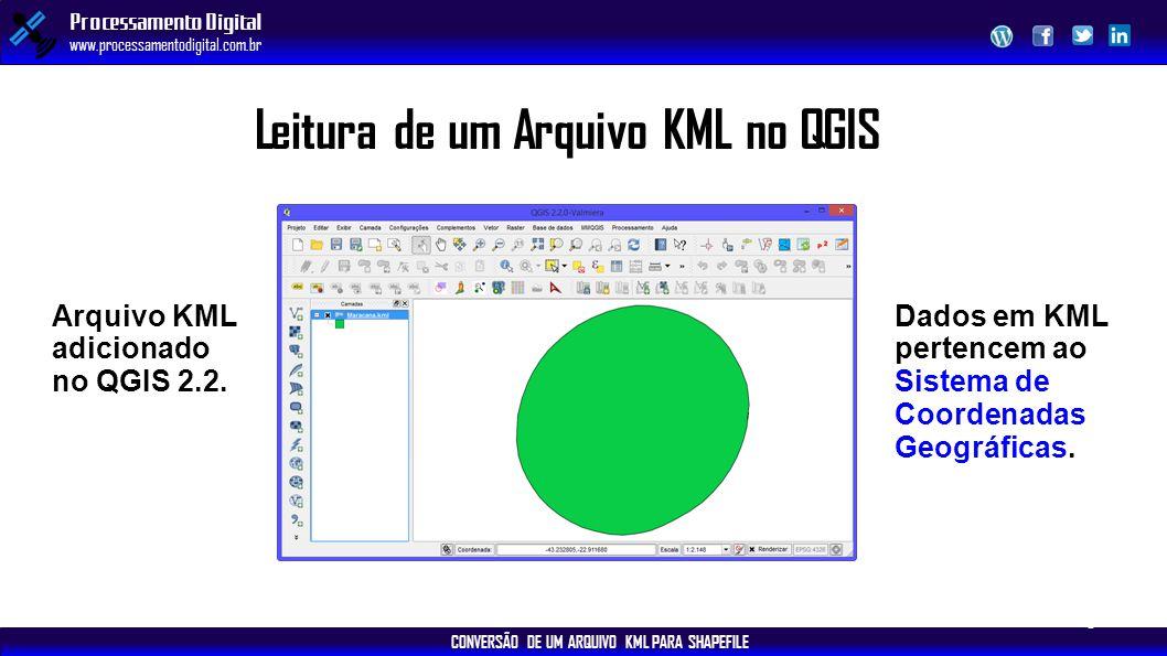 CONVERSÃO DE UM ARQUIVO KML PARA SHAPEFILE Processamento Digital www.processamentodigital.com.br Leitura de um Arquivo KML no QGIS Arquivo KML adicion