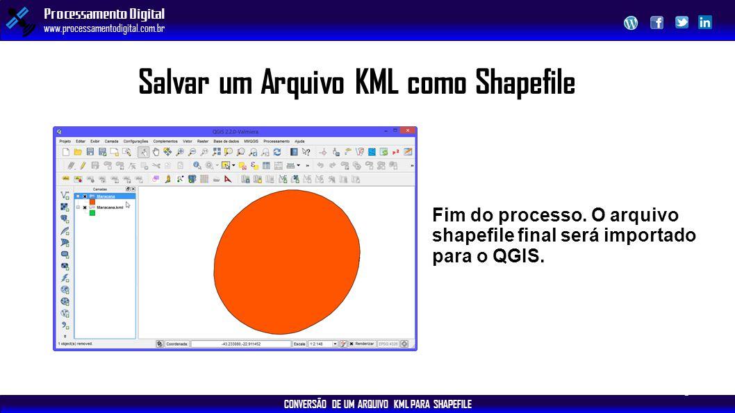 CONVERSÃO DE UM ARQUIVO KML PARA SHAPEFILE Processamento Digital www.processamentodigital.com.br Salvar um Arquivo KML como Shapefile 9 Fim do process