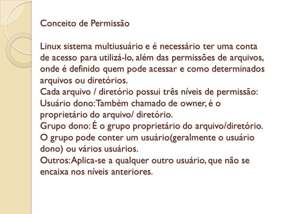Conceito de Permissão Linux sistema multiusuário e é necessário ter uma conta de acesso para utilizá-lo, além das permissões de arquivos, onde é defin