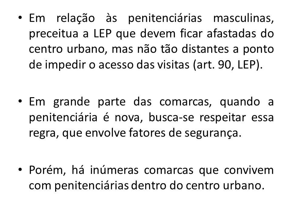 Em relação às penitenciárias masculinas, preceitua a LEP que devem ficar afastadas do centro urbano, mas não tão distantes a ponto de impedir o acesso