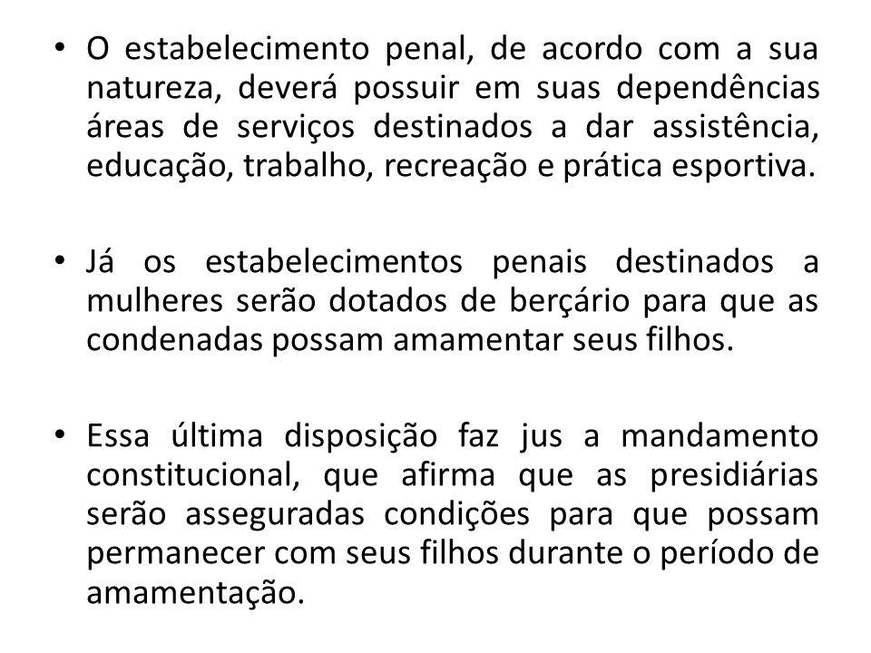 O estabelecimento penal, de acordo com a sua natureza, deverá possuir em suas dependências áreas de serviços destinados a dar assistência, educação, t