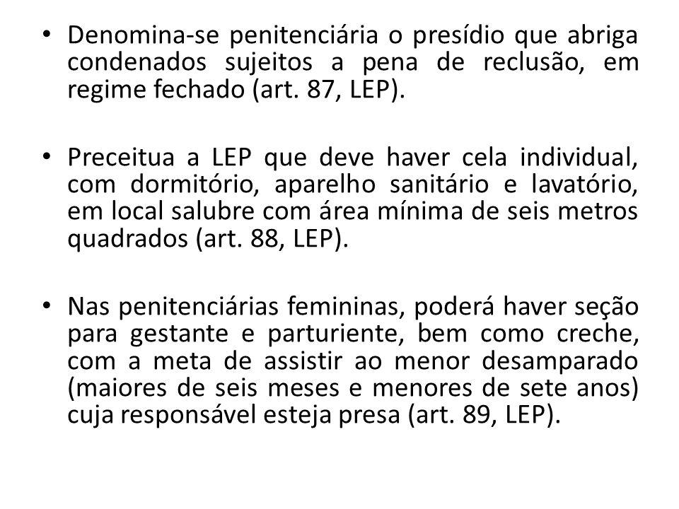 Denomina-se penitenciária o presídio que abriga condenados sujeitos a pena de reclusão, em regime fechado (art. 87, LEP). Preceitua a LEP que deve hav