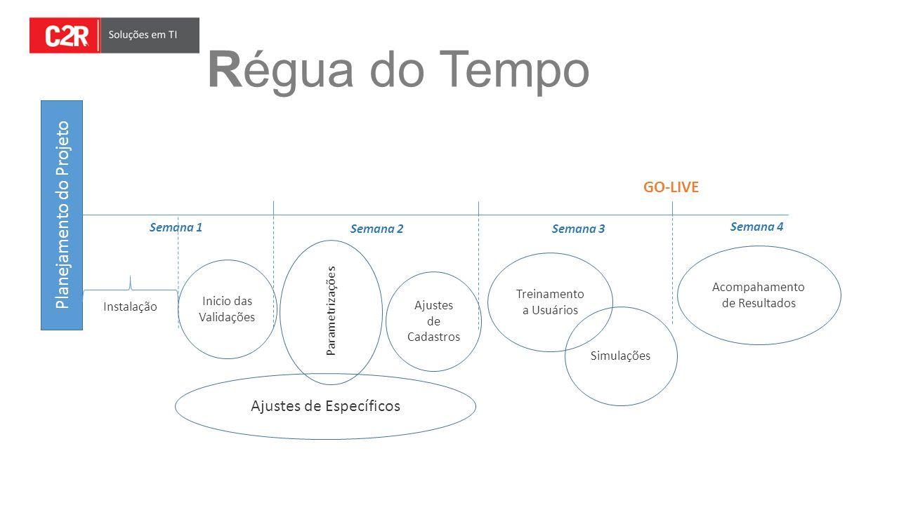 Régua do Tempo Planejamento do Projeto Semana 1 Semana 2Semana 3 Instalação Ajustes de Cadastros Parametrizações Inicio das Validações Treinamento a U