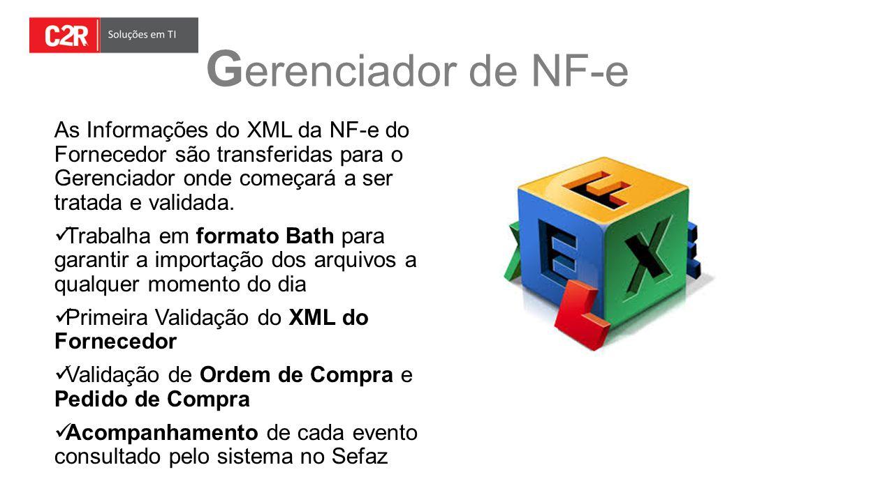 G erenciador de NF-e As Informações do XML da NF-e do Fornecedor são transferidas para o Gerenciador onde começará a ser tratada e validada. Trabalha