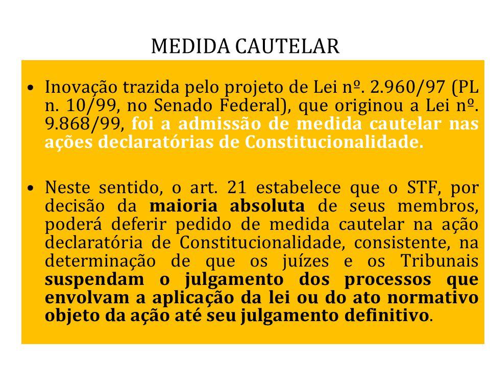 MEDIDA CAUTELAR Inovação trazida pelo projeto de Lei nº. 2.960/97 (PL n. 10/99, no Senado Federal), que originou a Lei nº. 9.868/99, foi a admissão de