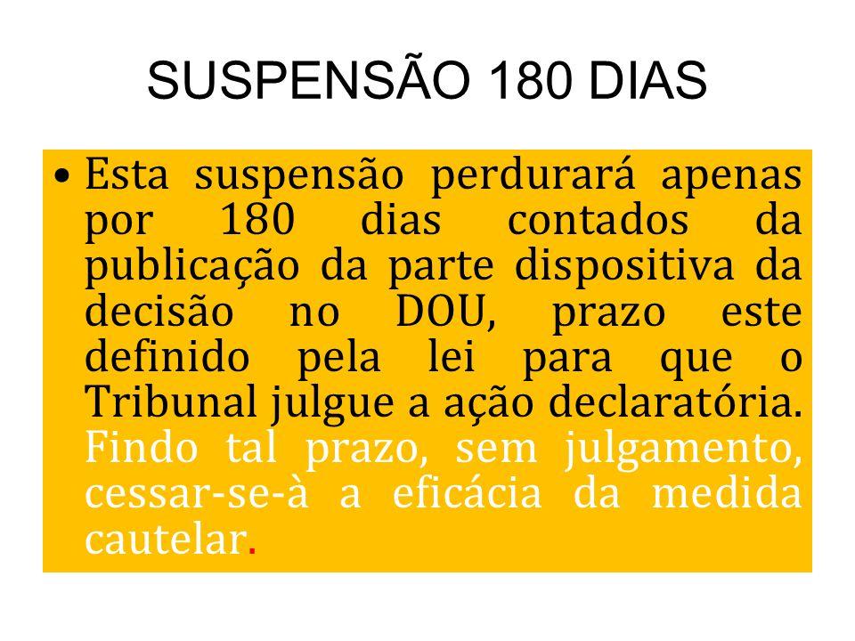 SUSPENSÃO 180 DIAS Esta suspensão perdurará apenas por 180 dias contados da publicação da parte dispositiva da decisão no DOU, prazo este definido pel