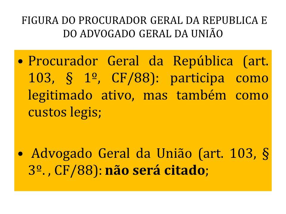 FIGURA DO PROCURADOR GERAL DA REPUBLICA E DO ADVOGADO GERAL DA UNIÃO Procurador Geral da República (art. 103, § 1º, CF/88): participa como legitimado