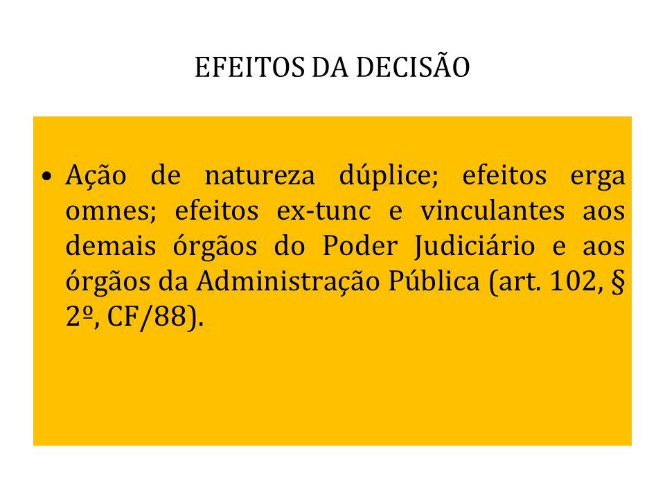 EFEITOS DA DECISÃO Ação de natureza dúplice; efeitos erga omnes; efeitos ex-tunc e vinculantes aos demais órgãos do Poder Judiciário e aos órgãos da A