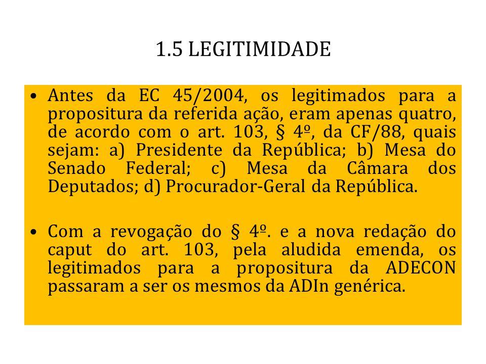 1.5 LEGITIMIDADE Antes da EC 45/2004, os legitimados para a propositura da referida ação, eram apenas quatro, de acordo com o art. 103, § 4º, da CF/88