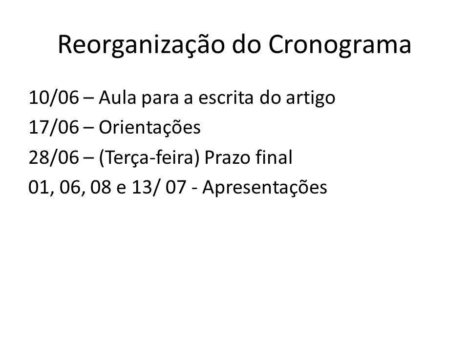 Reorganização do Cronograma 10/06 – Aula para a escrita do artigo 17/06 – Orientações 28/06 – (Terça-feira) Prazo final 01, 06, 08 e 13/ 07 - Apresent