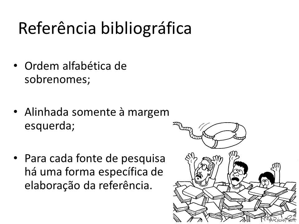 Referência bibliográfica Ordem alfabética de sobrenomes; Alinhada somente à margem esquerda; Para cada fonte de pesquisa há uma forma específica de el