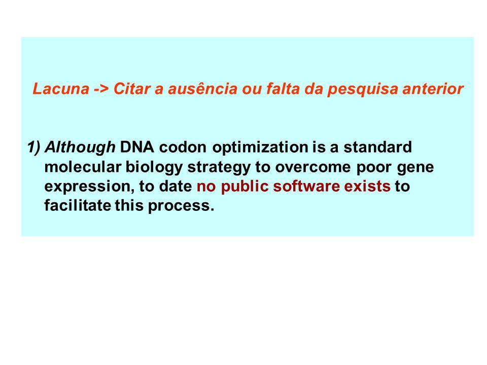Lacuna -> Citar a ausência ou falta da pesquisa anterior 1)Although DNA codon optimization is a standard molecular biology strategy to overcome poor g