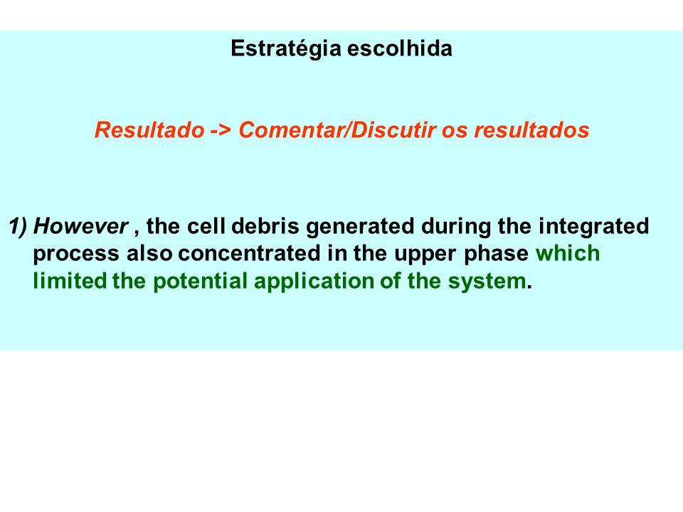 Estratégia escolhida Resultado -> Comentar/Discutir os resultados 1)However, the cell debris generated during the integrated process also concentrated