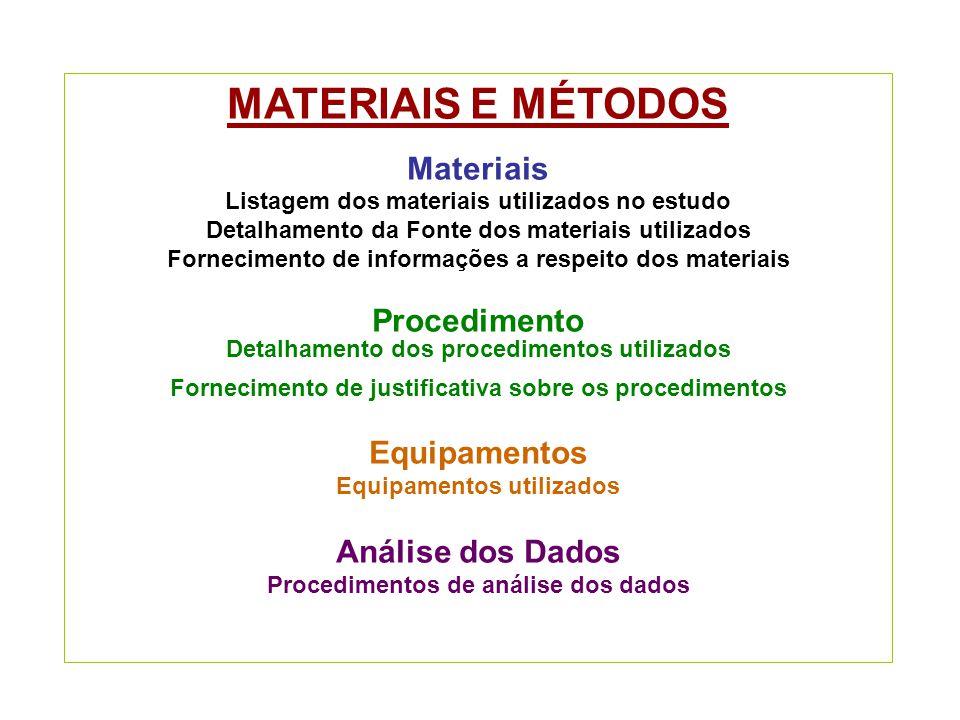 MATERIAIS E MÉTODOS Materiais Listagem dos materiais utilizados no estudo Detalhamento da Fonte dos materiais utilizados Fornecimento de informações a