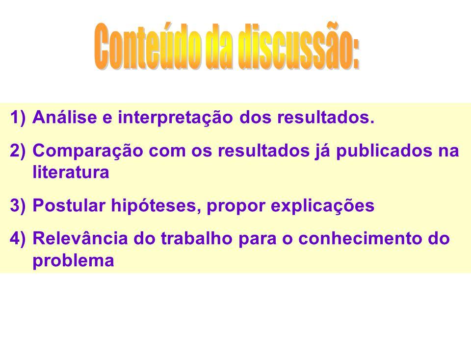 1)Análise e interpretação dos resultados. 2)Comparação com os resultados já publicados na literatura 3)Postular hipóteses, propor explicações 4)Relevâ
