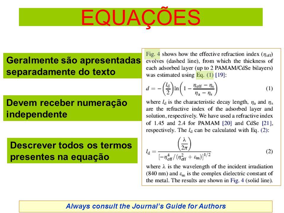 EQUAÇÕES Geralmente são apresentadas separadamente do texto Devem receber numeração independente Descrever todos os termos presentes na equação Always