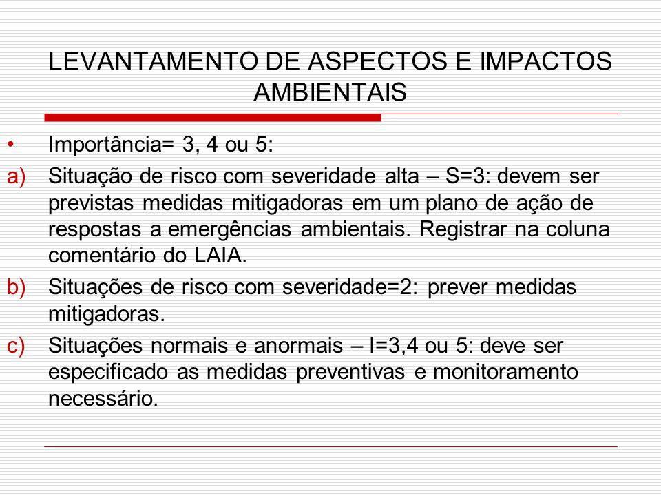 LEVANTAMENTO DE ASPECTOS E IMPACTOS AMBIENTAIS Importância= 3, 4 ou 5: a)Situação de risco com severidade alta – S=3: devem ser previstas medidas mitigadoras em um plano de ação de respostas a emergências ambientais.