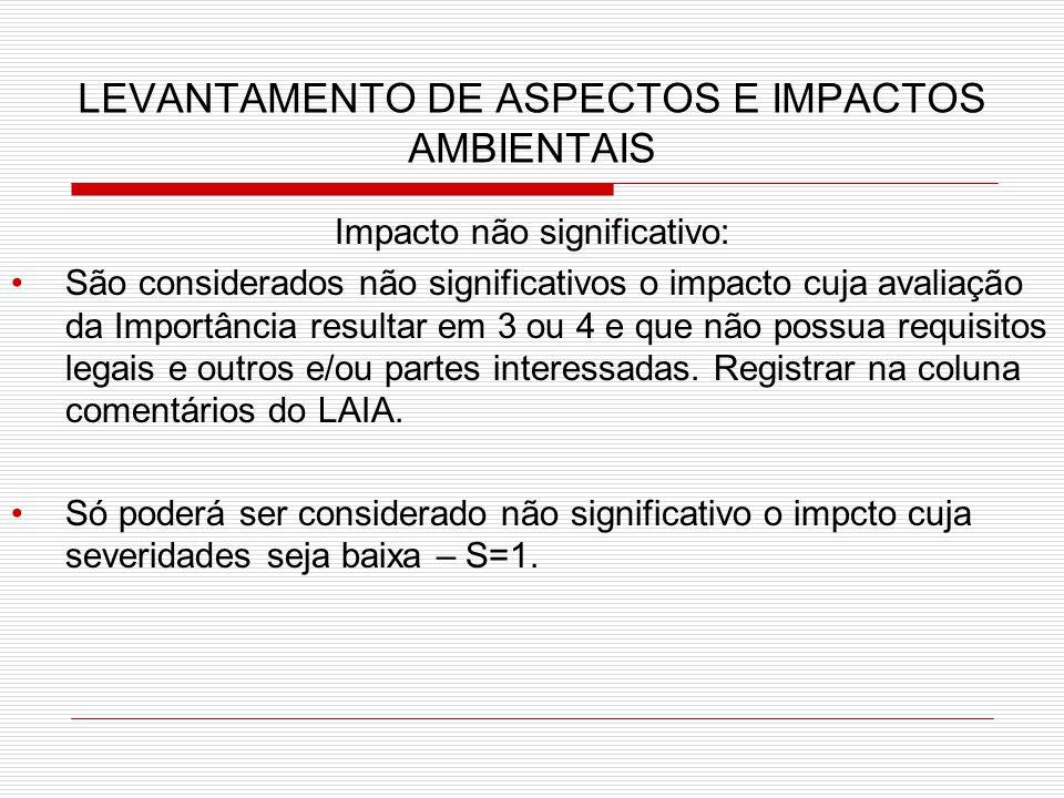LEVANTAMENTO DE ASPECTOS E IMPACTOS AMBIENTAIS Impacto não significativo: São considerados não significativos o impacto cuja avaliação da Importância resultar em 3 ou 4 e que não possua requisitos legais e outros e/ou partes interessadas.