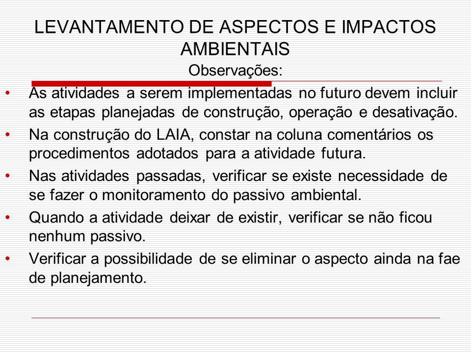 LEVANTAMENTO DE ASPECTOS E IMPACTOS AMBIENTAIS Observações: As atividades a serem implementadas no futuro devem incluir as etapas planejadas de construção, operação e desativação.