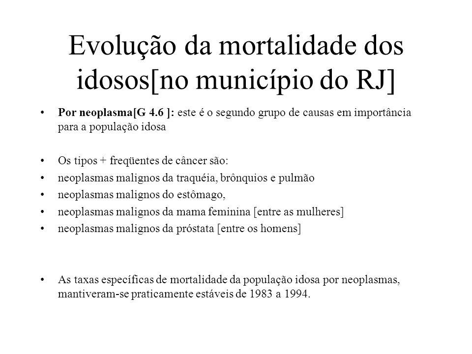 Evolução da mortalidade dos idosos[no município do RJ] Por neoplasma[G 4.6 ]: este é o segundo grupo de causas em importância para a população idosa O