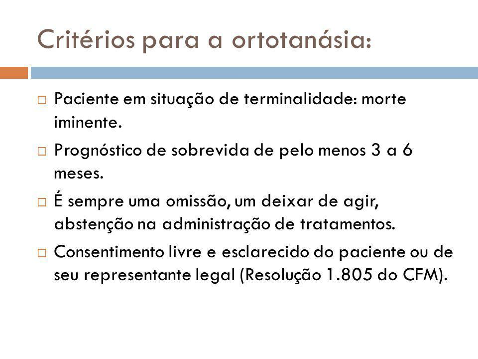 Critérios para a ortotanásia:  Paciente em situação de terminalidade: morte iminente.