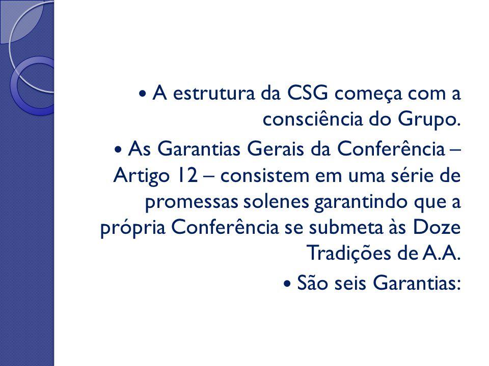 A estrutura da CSG começa com a consciência do Grupo. As Garantias Gerais da Conferência – Artigo 12 – consistem em uma série de promessas solenes gar