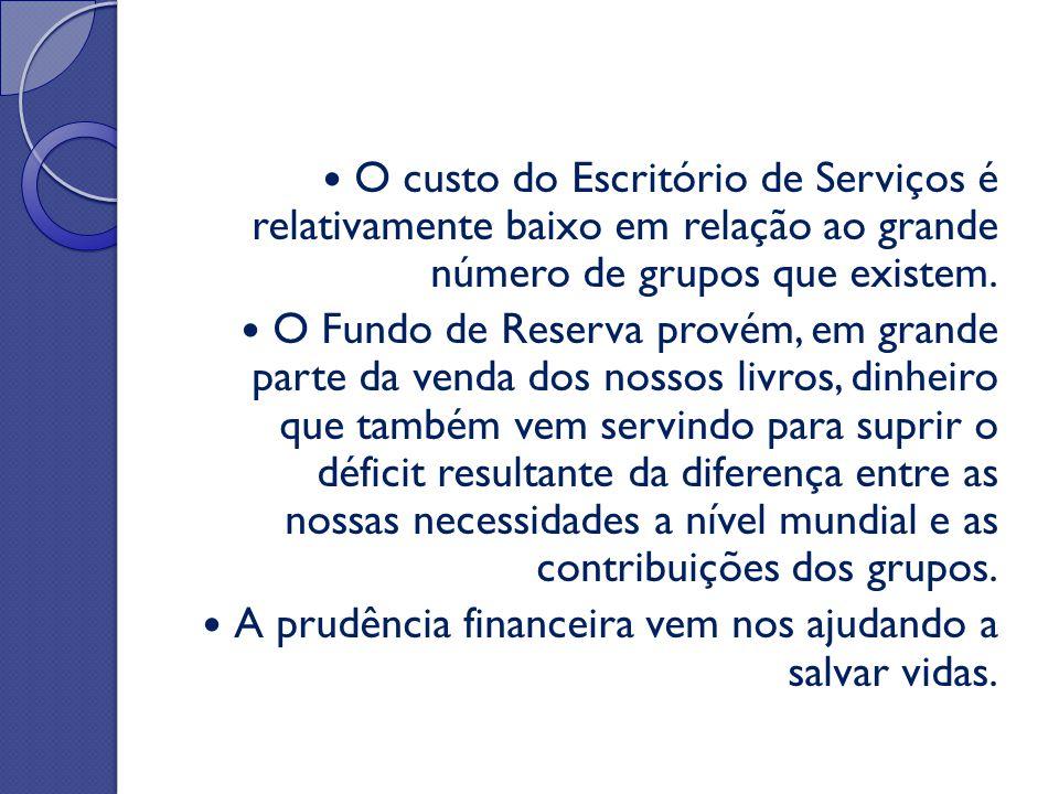 O custo do Escritório de Serviços é relativamente baixo em relação ao grande número de grupos que existem. O Fundo de Reserva provém, em grande parte