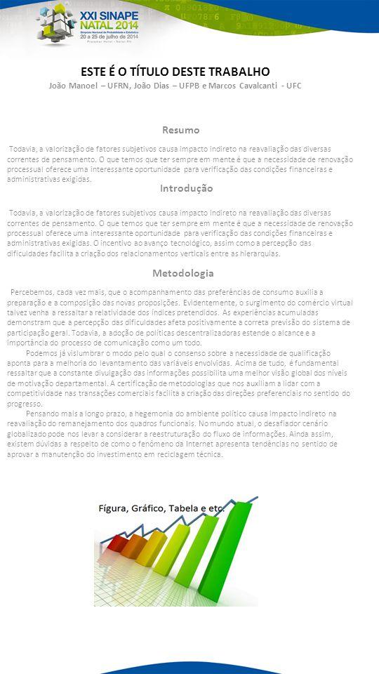 ESTE É O TÍTULO DESTE TRABALHO João Manoel – UFRN, João Dias – UFPB e Marcos Cavalcanti - UFC Todavia, a valorização de fatores subjetivos causa impacto indireto na reavaliação das diversas correntes de pensamento.